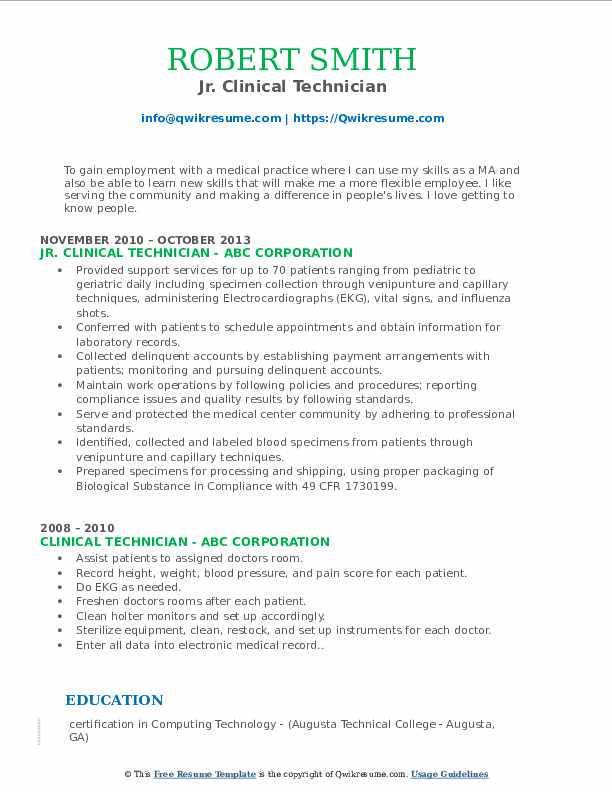 Jr. Clinical Technician Resume Model