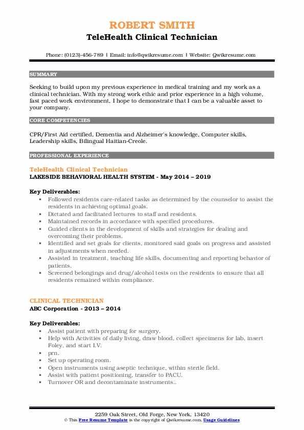 TeleHealth Clinical Technician Resume Format