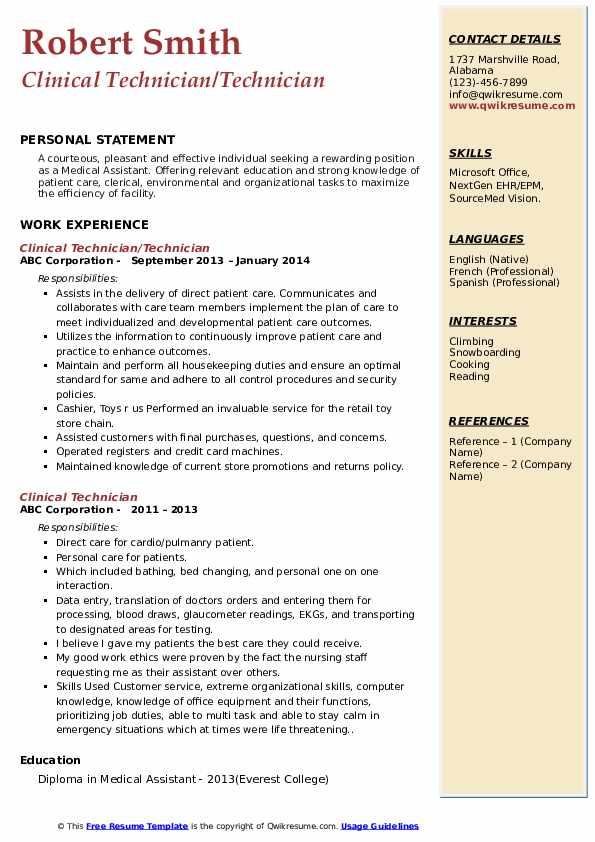 Clinical Technician/Technician Resume Sample