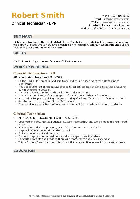 Clinical Technician - LPN Resume Sample
