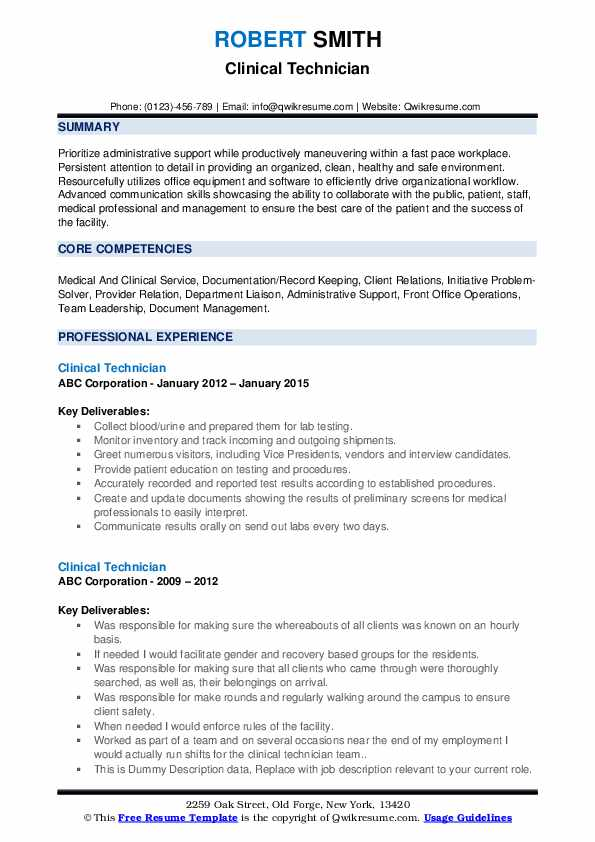 Clinical Technician Resume example