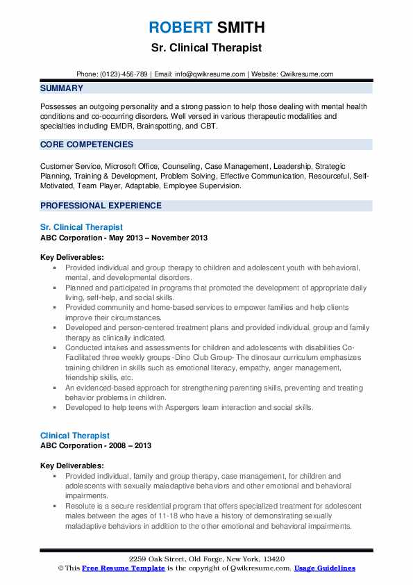 Sr. Clinical Therapist Resume Template