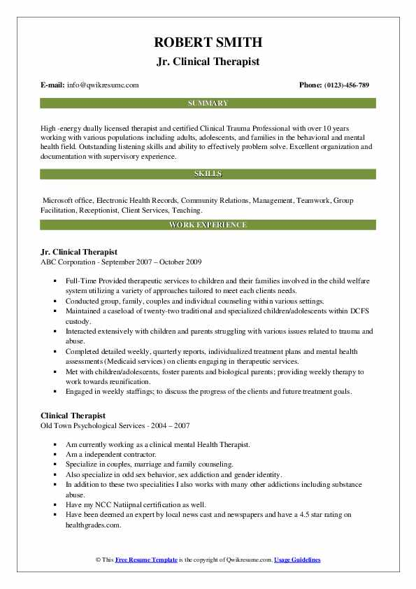 Jr. Clinical Therapist Resume Template