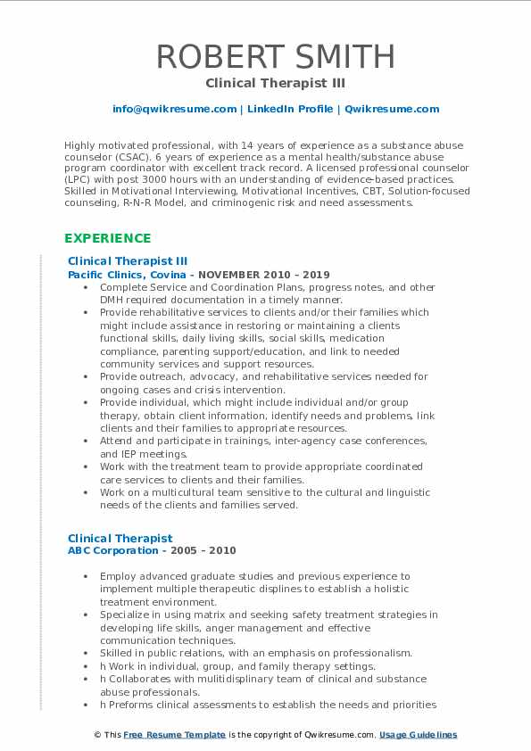 Clinical Therapist III Resume Sample