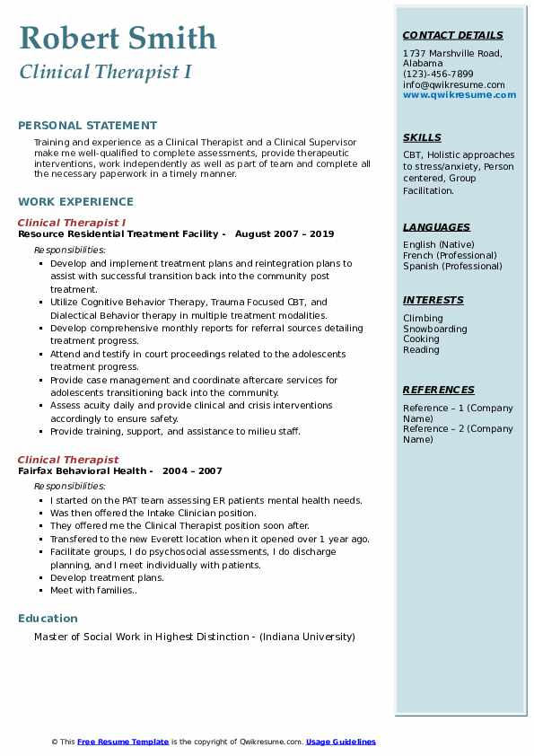 Clinical Therapist I Resume Model