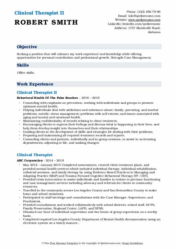 Clinical Therapist II Resume Example