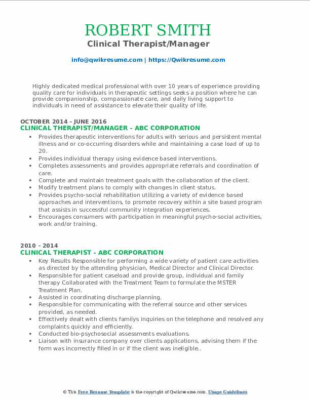 Clinical Therapist/Manager Resume Format
