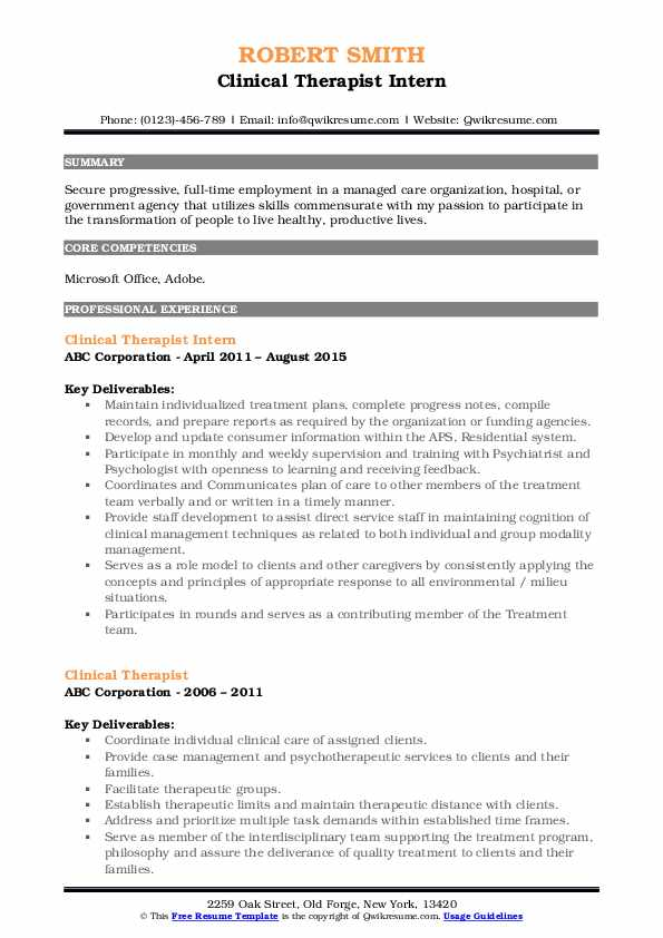 Clinical Therapist Intern Resume Example