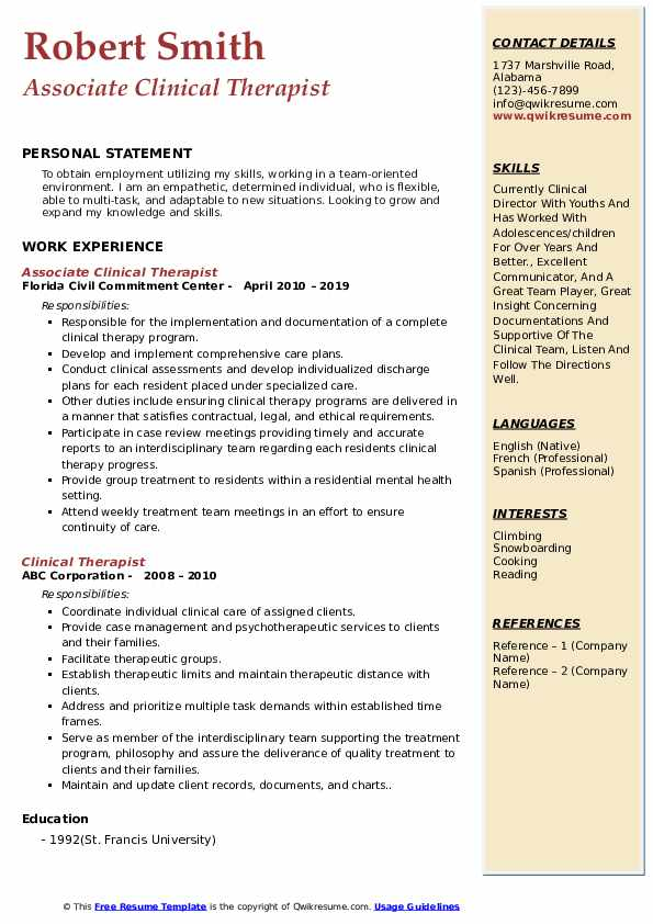 Associate Clinical Therapist Resume Format