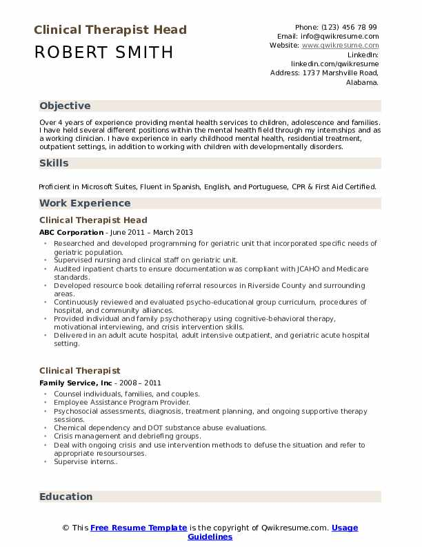 Clinical Therapist Head Resume Model