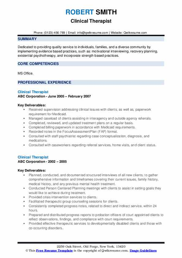 Clinical Therapist Resume example