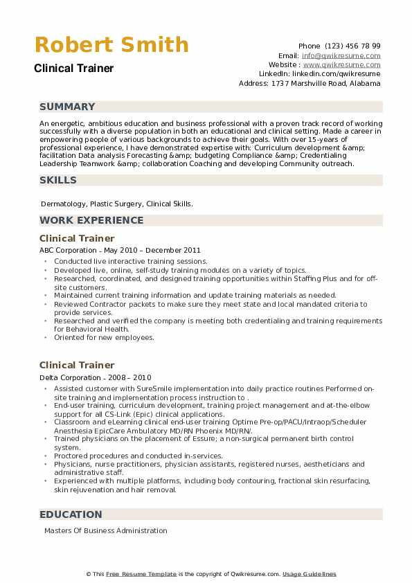 Clinical Trainer Resume example