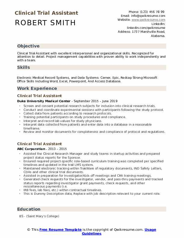 Clinical Trial Assistant Resume example