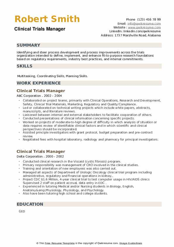 Clinical Trials Manager Resume example