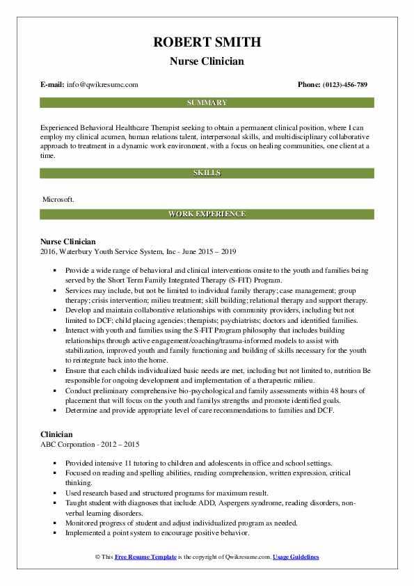 Nurse Clinician Resume Template