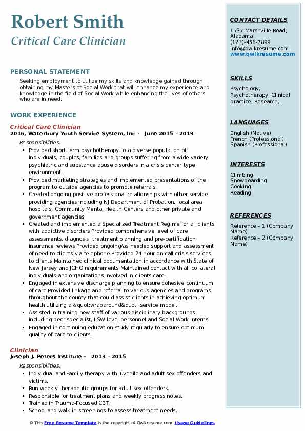 Critical Care Clinician Resume Format