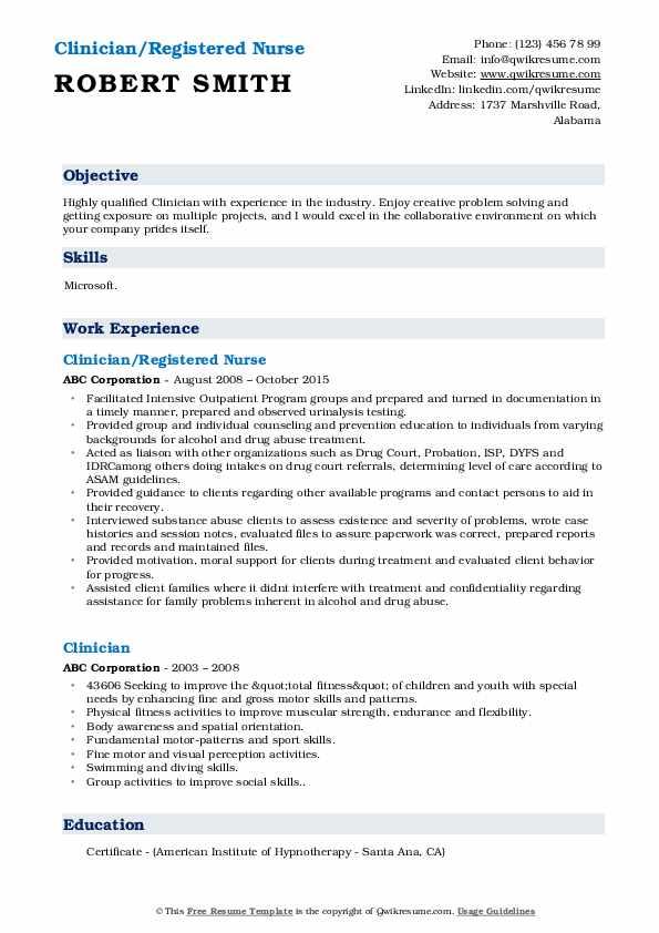 Clinician/Registered Nurse Resume Template