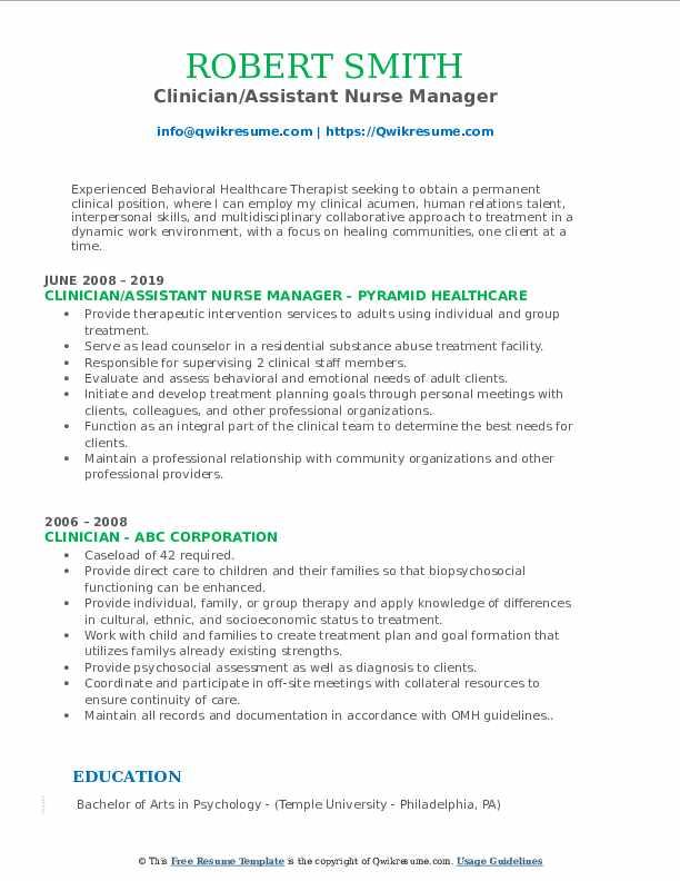 Clinician/Assistant Nurse Manager Resume Model