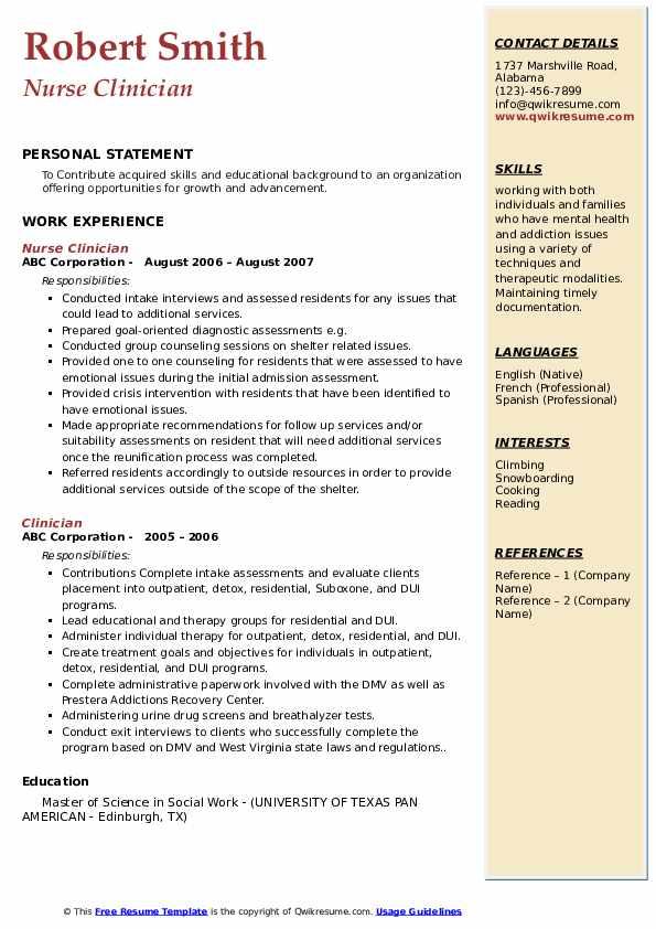 Nurse Clinician Resume Model