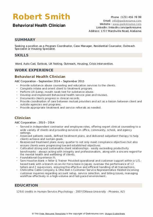 Behavioral Health Clinician Resume Format