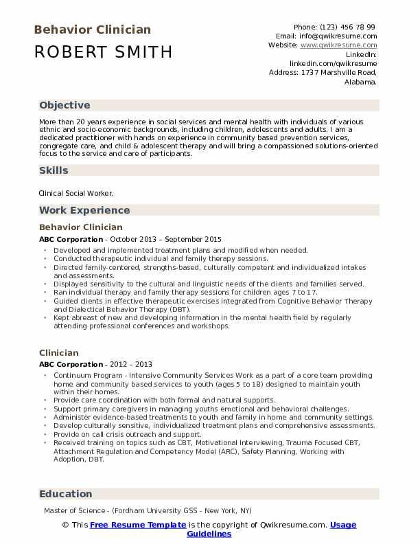 Behavior Clinician Resume Model