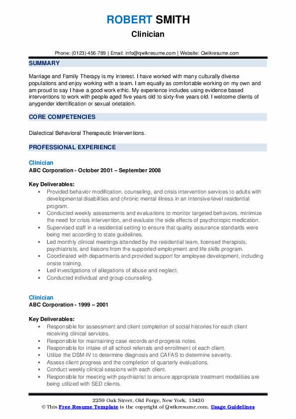 Clinician Resume example