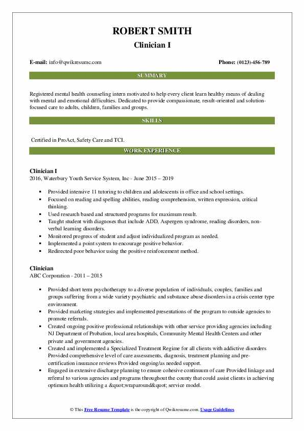 Outpatient Therapist (Non-Licensed) Resume Template