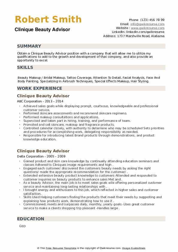 Clinique Beauty Advisor Resume example