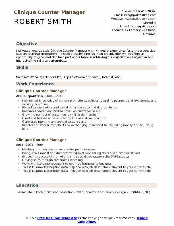 Clinique Counter Manager Resume example