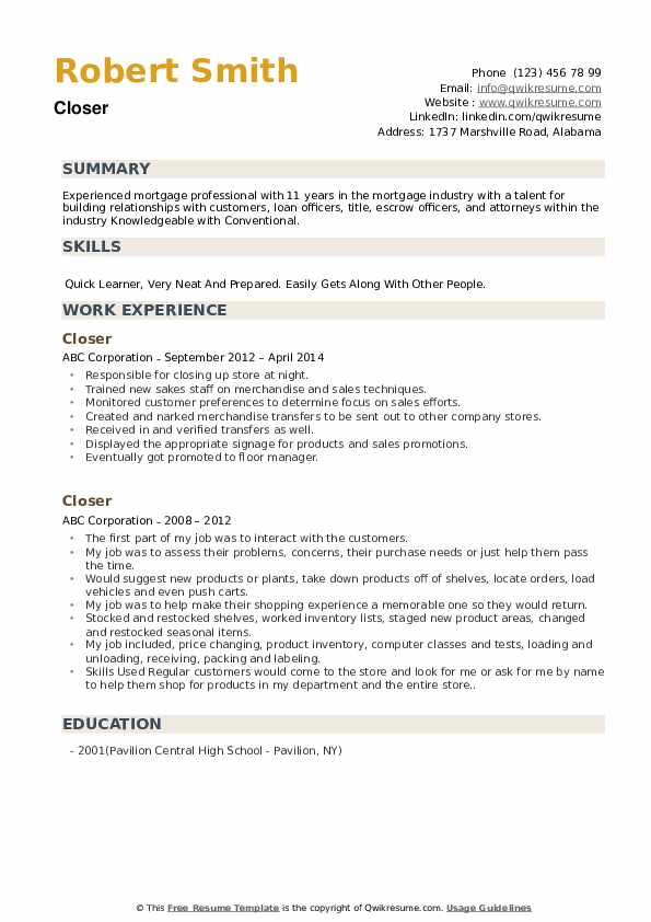 Closer Resume example