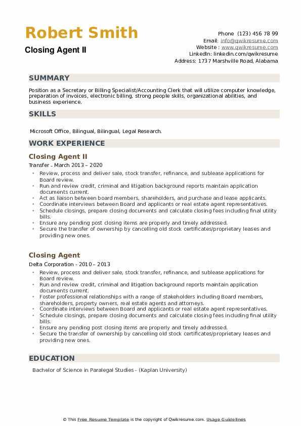 closing agent resume samples
