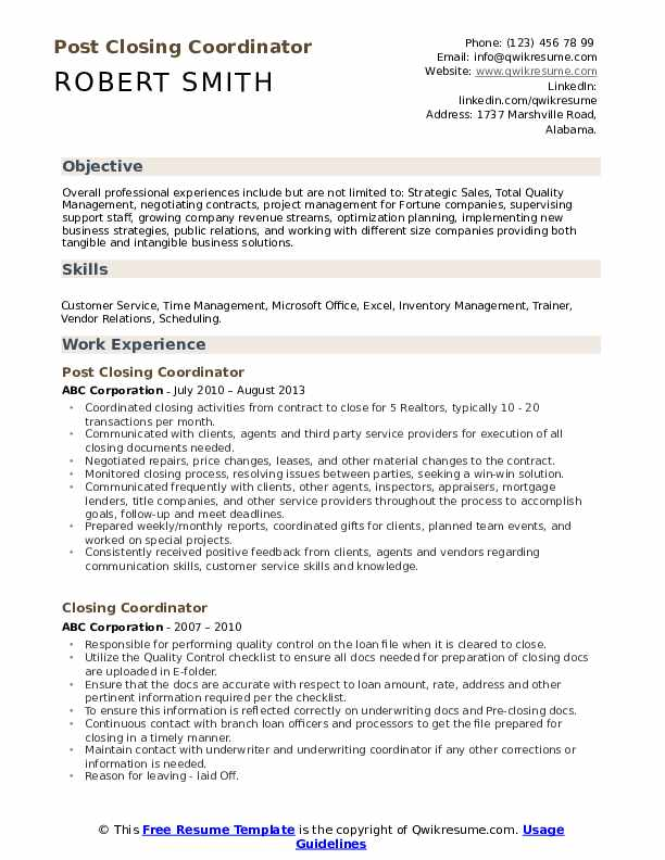 Post Closing Coordinator Resume Template