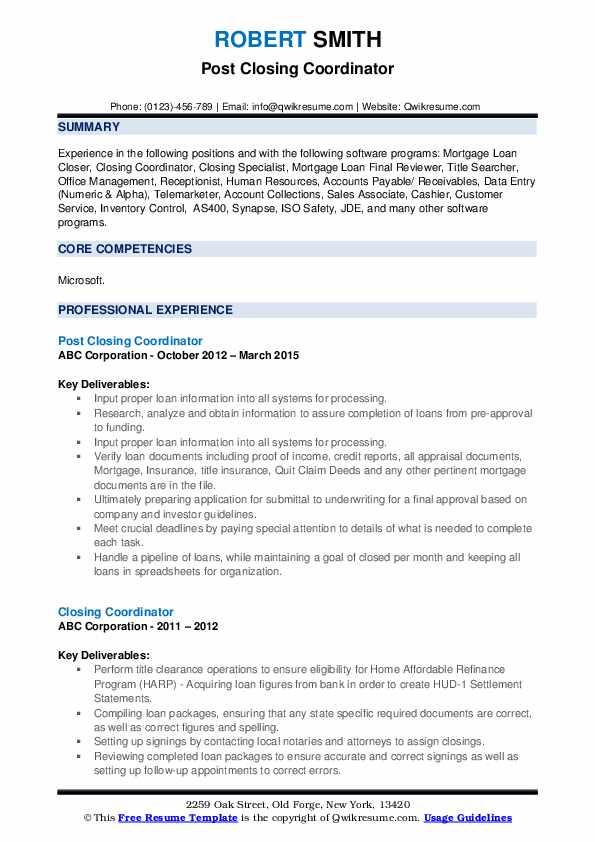 Post Closing Coordinator Resume Model