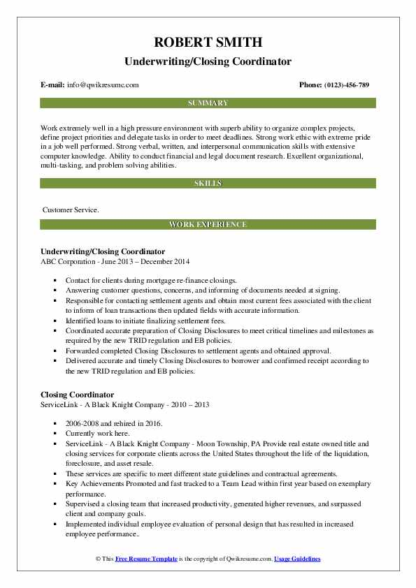 Underwriting/Closing Coordinator Resume Sample