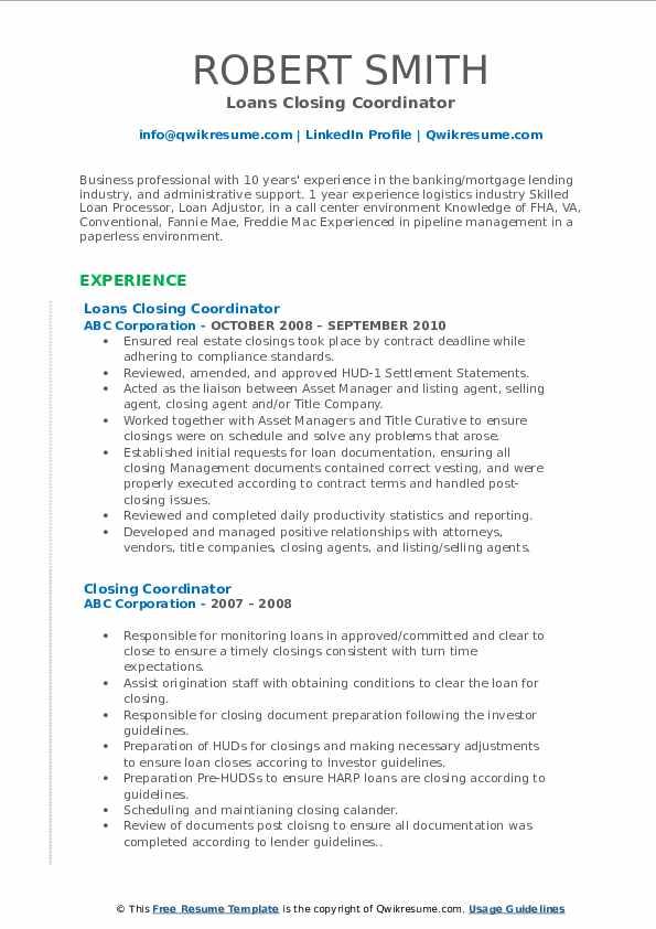 Loans Closing Coordinator Resume Format