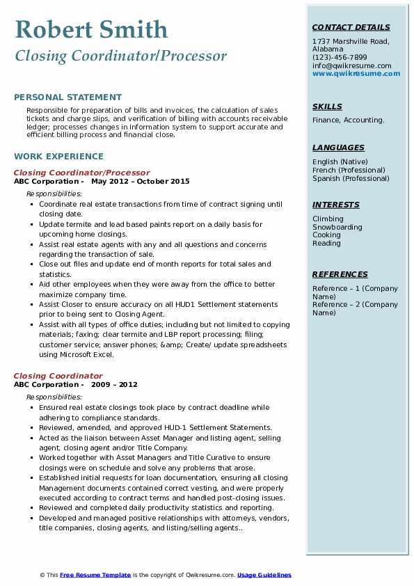 Closing Coordinator/Processor Resume Template