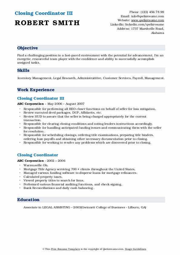 Closing Coordinator III Resume Example