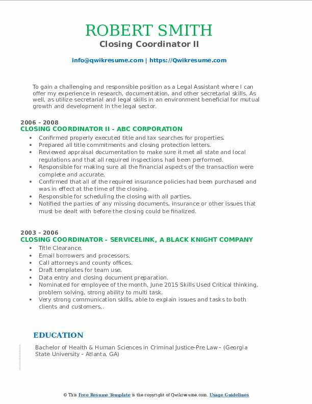 Closing Coordinator II Resume Sample