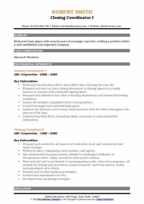 Closing Coordinator I Resume Sample