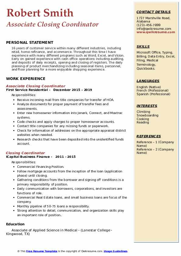 Associate Closing Coordinator Resume Format