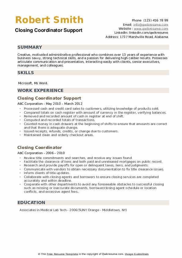 Closing Coordinator Support Resume Sample