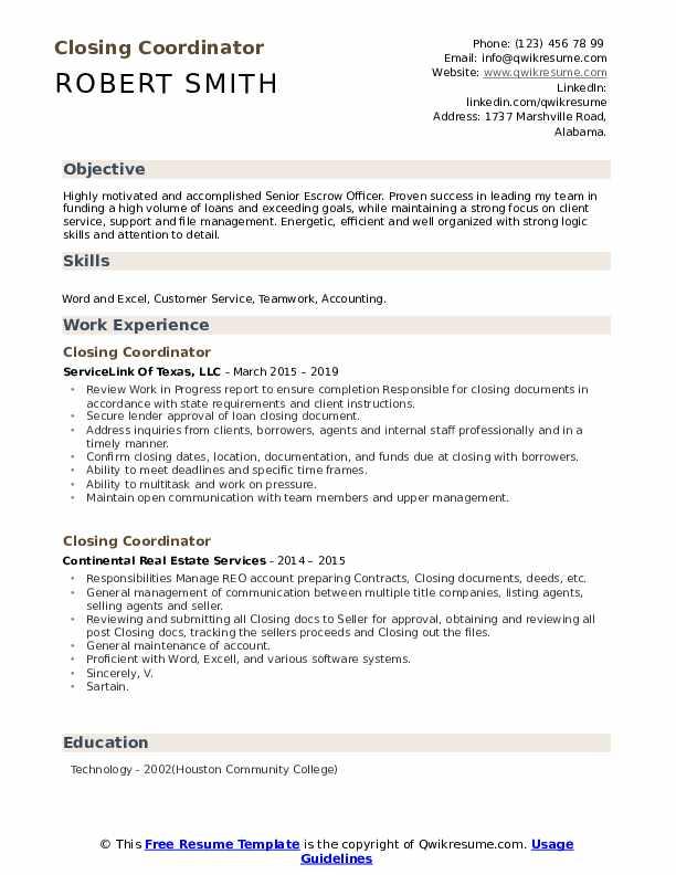 Closing Coordinator Resume example