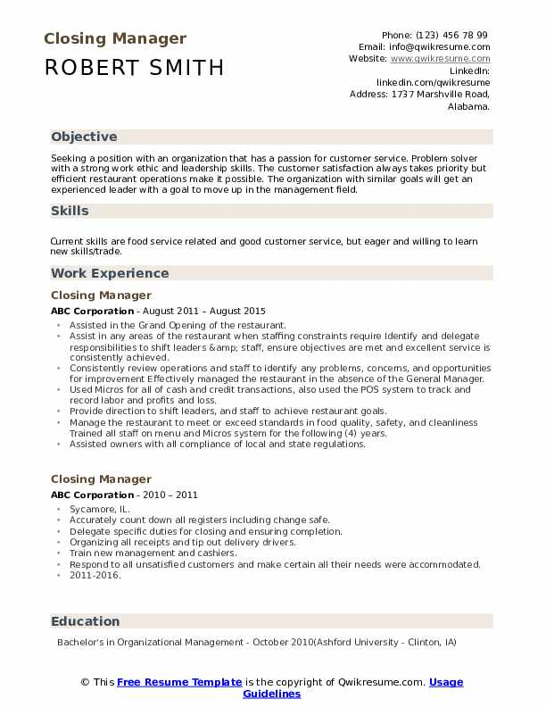 Closing Manager Resume Model
