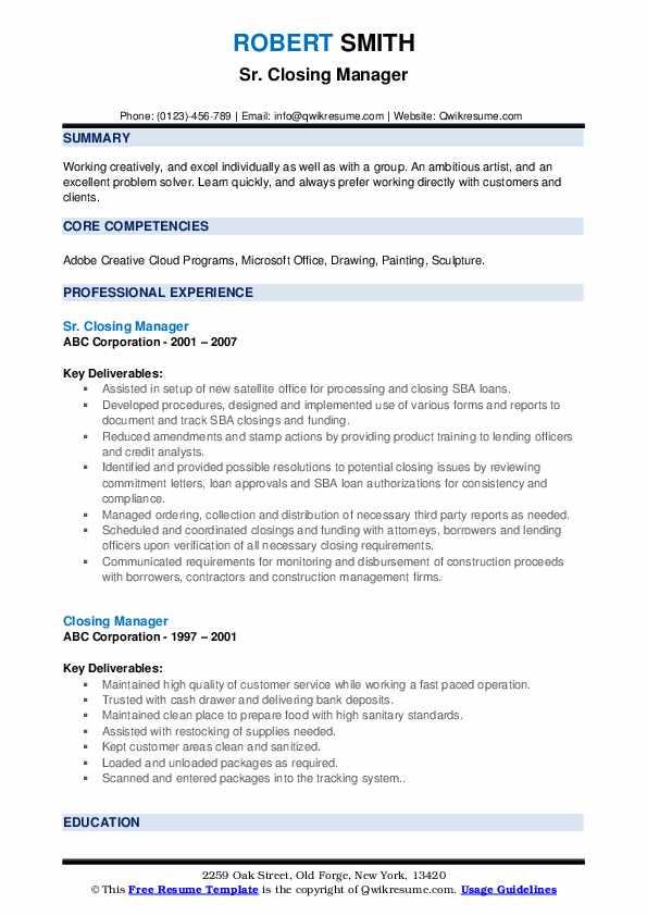 Sr. Closing Manager Resume Sample