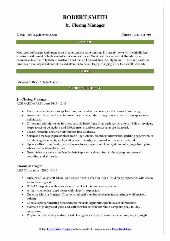 Jr. Closing Manager Resume Model