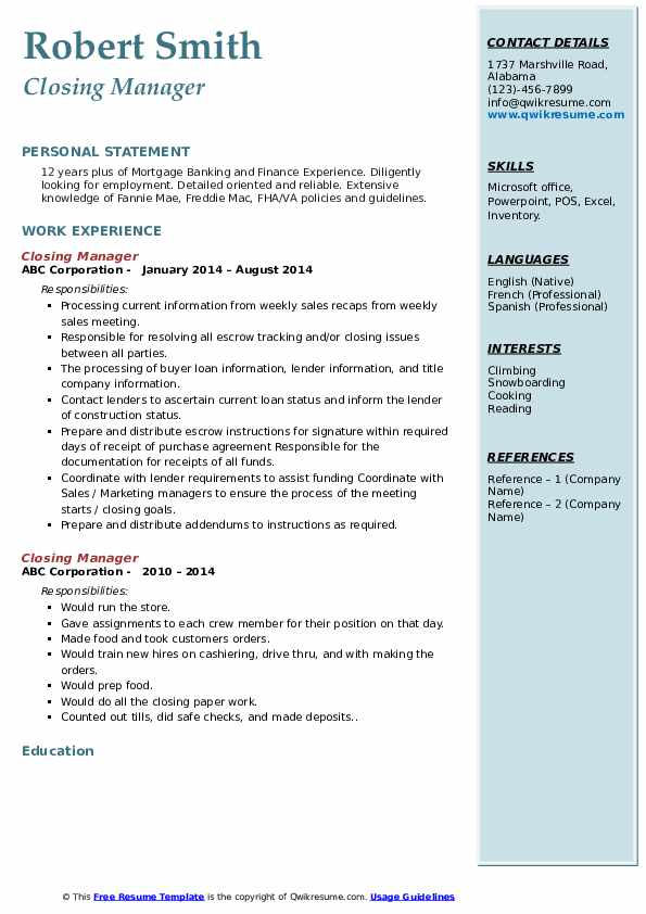 Closing Manager Resume Example