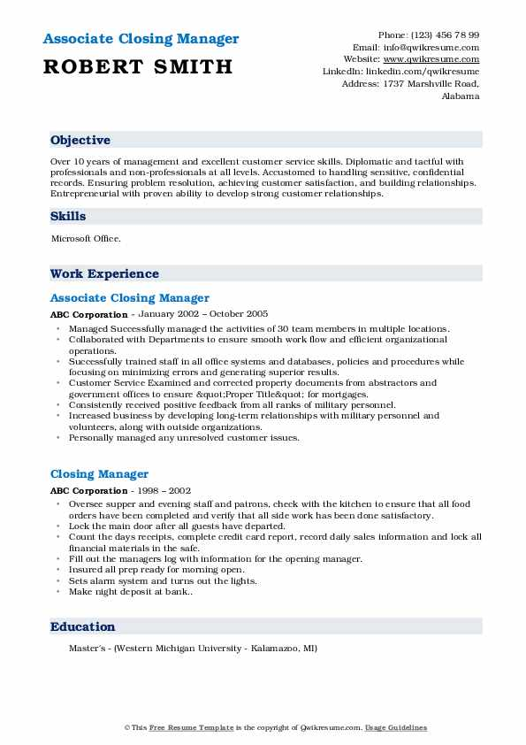 Associate Closing Manager Resume Example