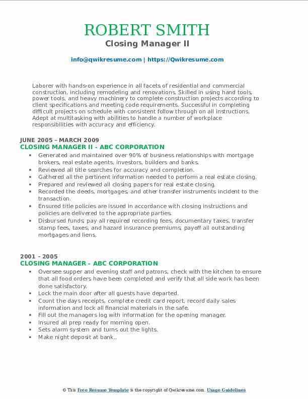 Closing Manager II Resume Model