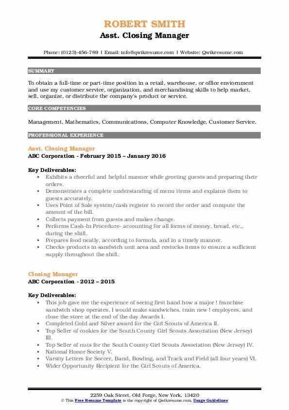 Asst. Closing Manager Resume Model