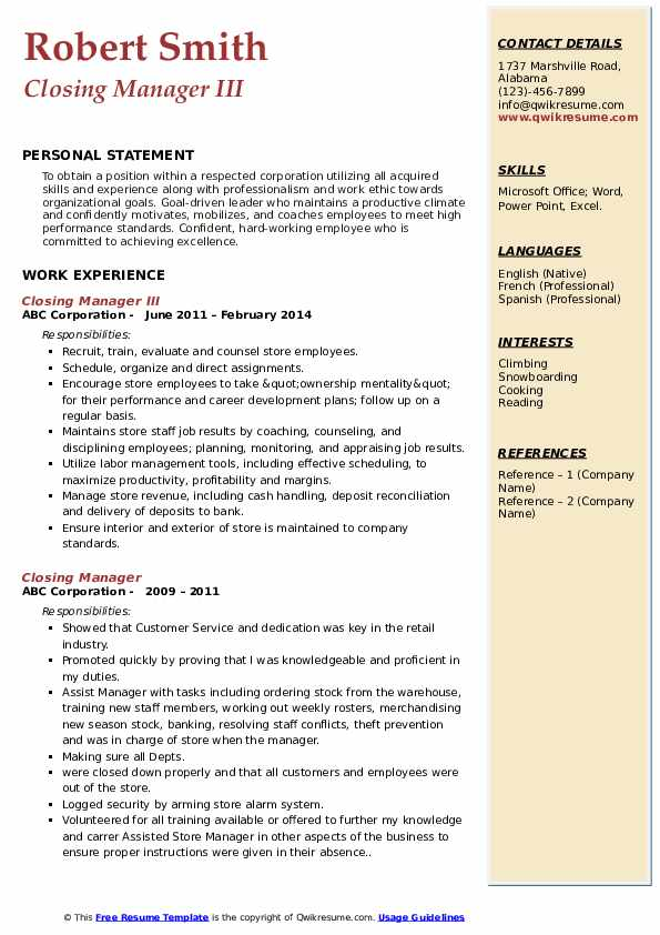 Closing Manager III Resume Example